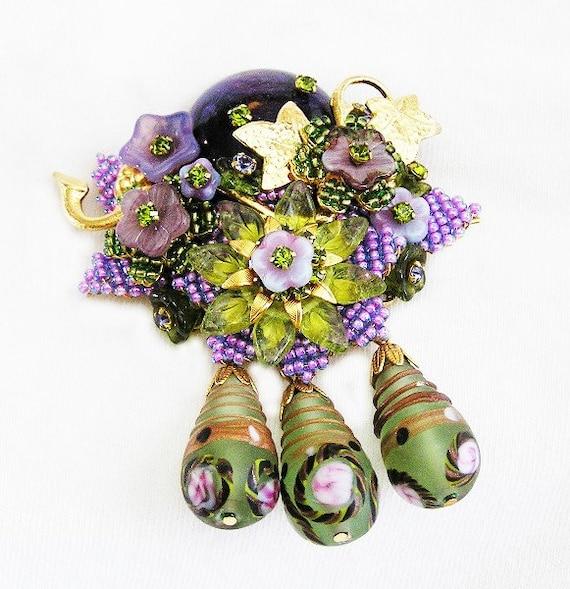 Stanley Hagler Ian St. Gielar Green and Purple Floral Brooch