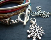 Womens Christmas Bracelet, Leather Bracelet, With 2 free lobster clasp charms, Womens Jewelry, Christmas Jewelry - UrbanSurvivalGearUSA