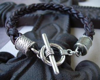 Mens Natural Antique Brown Toggle Closure Leather Bracelet