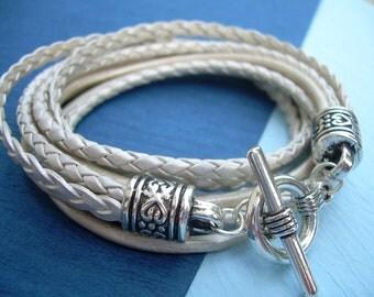 Womens Leather Bracelet, Five Strand, Double Wrap, Metallic Pearl, Wedding, Womens Bracelet, Womens Jewelry, Bridesmaid, Mothers Day