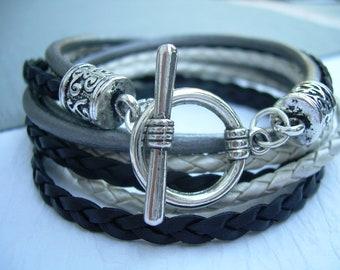 Womens  Leather Bracelet , Black- Silver Gray-White, Triple  Wrap, Triple Strands, Womens Bracelet, Womens Gift, Womens Jewelry