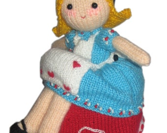 Alice  in Wonderland & the Queen of Hearts Reversible Doll pdf Email Knit PATTERN