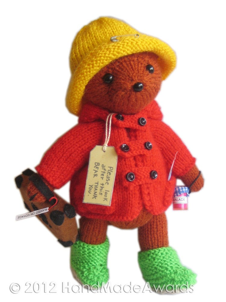 Teddy Bear Knitting Patterns Free Download : PADDINGTON Bear PDF Email Knit PATTERN
