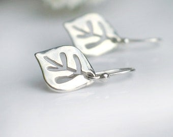 Leaf Earrings | Sterling Silver Cut Out Leaves Shaped Dangle | Leverbacks | Everyday Go-To Earrings | Aspen Earrings | Gift Ready to Ship
