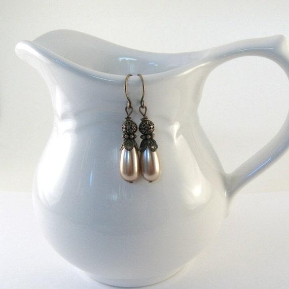 Pearl Teardrop Earrings Antique Copper  Beaded Wire Dangle Handmade