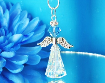 Swarovski Crystal Guardian Angel Charm Aquamarine Blue Something Blue Bouquet Charm