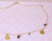 14k gold filled necklace with garnet, iolite and onxy