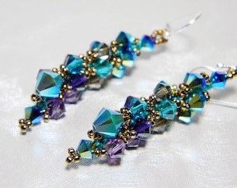 "Peacock Swarovski Short Crystal Earrings Jet 2X AB, Blue Zircon, Purple Velvet, Sterling Silver - ""Ombre dOiseaux"""