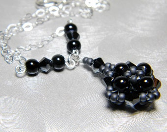 "Black Glass Pearl Hematite Swarovski Crystal Matte Gunmetal Seed Beads Beadweaving Necklace Sterling Silver - ""Dream's Sister"""