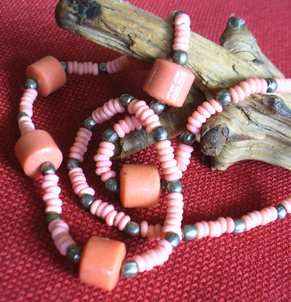 Coral pink necklace, Waikiki Beach necklace