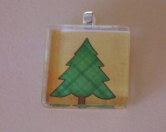 """Christmas Tree Glass Tile 1"""" Handmade Pendant, Stained Glass, Necklace, Holiday Jewelry, Magnet, Keyring"""