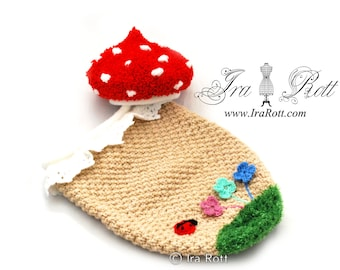 Forest Mushroom Hat and Cocoon Set for Newborn READY to SHIP Photo Prop