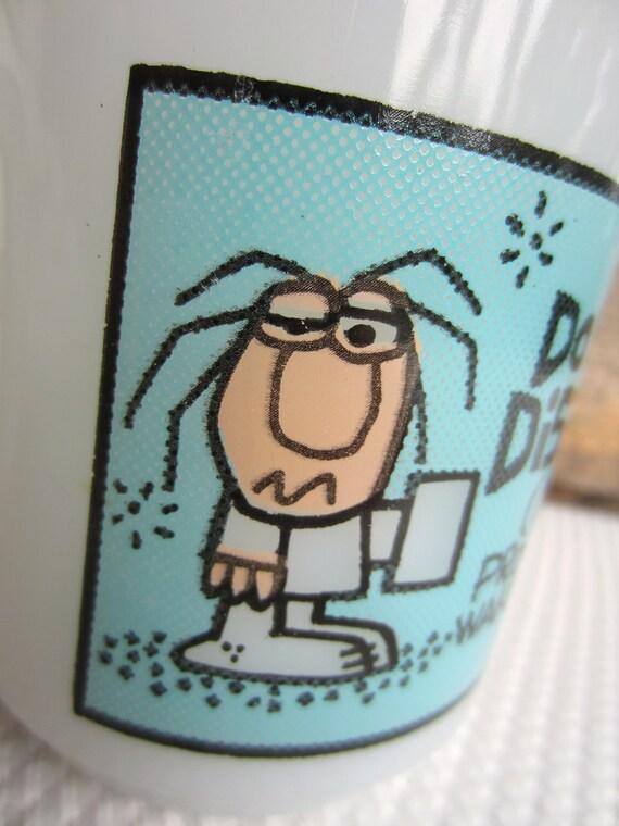 Vintage Do Not Disturb Waking Up Milk Glass Mug by Glasbake