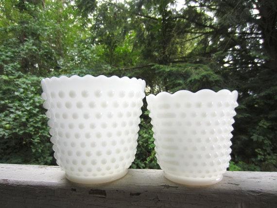Vintage Pair Hobnail White Milk Glass Vase Planter Wedding Garden Table Setting