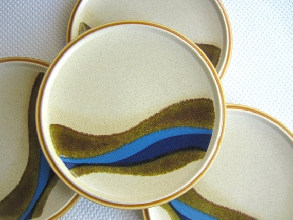 Vintage Blue River Mikasa Stoneware Salad Plates set of 4 made in Japan