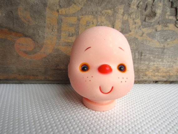 Vintage Plastic Smiling Freckle Red Nose Doll Head Strawberry Doll Crafting Supply
