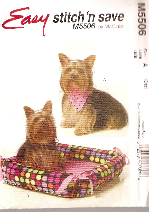 Dog Pet Neckerchief and Bed Sewing Pattern McCalls M5506 unused