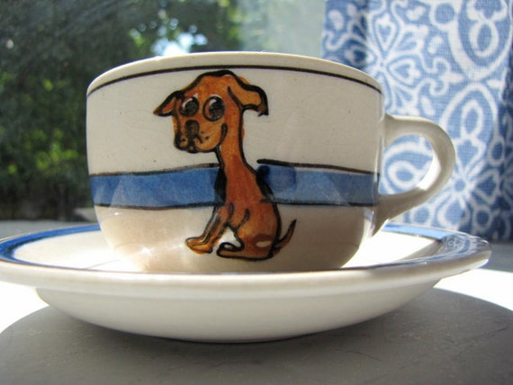 Vintage Dog Cup And Saucer