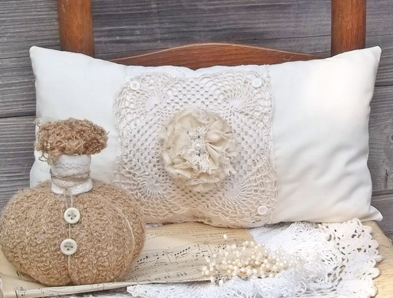 Muslin Pillow with Vintage Lace, Buttons and  Tattered Rose
