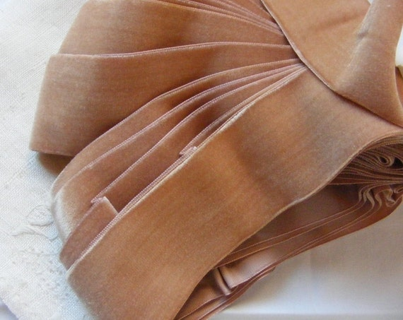 Vintage 1930's French Velvet Ribbon 2 Inch Gorgeous Foundation Rosy Beige AGED