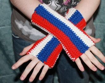 Thin Striped Fingerless Gloves