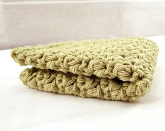 Crocheted Washcloth, Crochet Facecloth, Cotton Washcloth, Cotton Face Cloth, Moss Green Cloth Cleansing Cloth