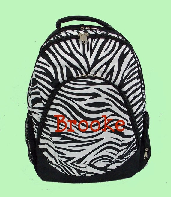 Personalized Large Backpack In Black and White Zebra-Monogramming Included