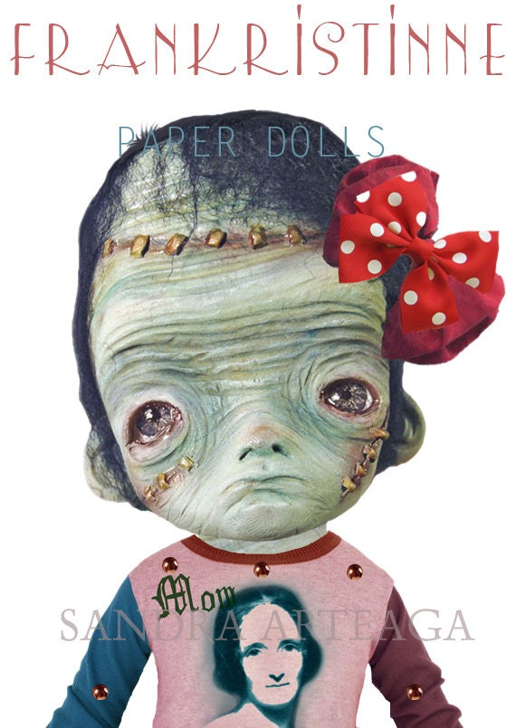 Frankristinne -  Halloween  PAPER DOLL - 9.8 inches - monsters creatures freak pink art doll zombie