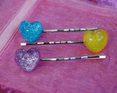 Fairy Kei Sparkle Heart Bobby Pins Sweet Lolita Harajuku Spank Hime Prep Kandi Raver Rave EDC Set of 3 Hair Accessories