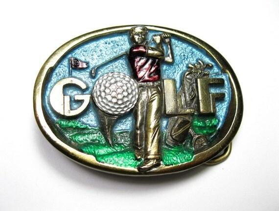 Vintage 3D Brass Golf Belt Buckle, The Great American Buckle Co