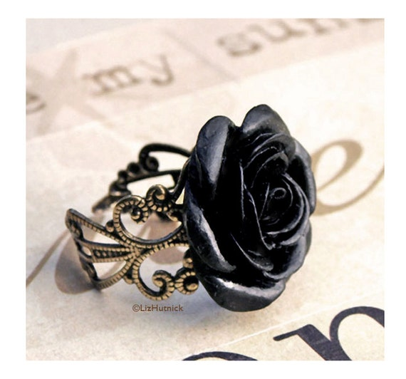 Black Tea Rose Ring - Gothic Victorian Black Rose Filigree Ring - Gothic Glam