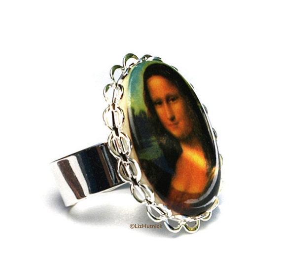 Mona Lisa Ring. Adjustable Ring. Art to Wear.