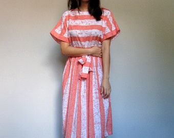 60s Horizontal Striped Dress Casual Spring Orange White Sundress 1960s Simple Sundress - Large L