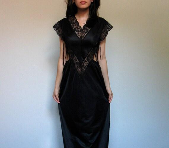 Black Maxi Dress Cutout Vintage Lace Lingerie Slip Dress S/ M