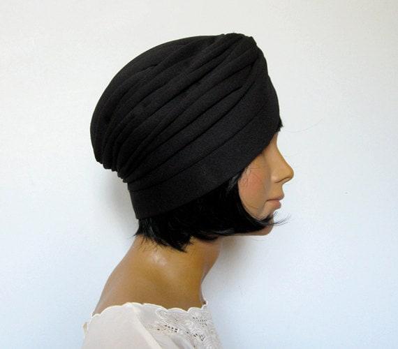 Vintage Turban Hat 70s Head Piece Fall Fashion Black Jersey Turban Wrap