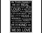 Family Rules 8x10 Subway Art Sign in 11x14 white mat