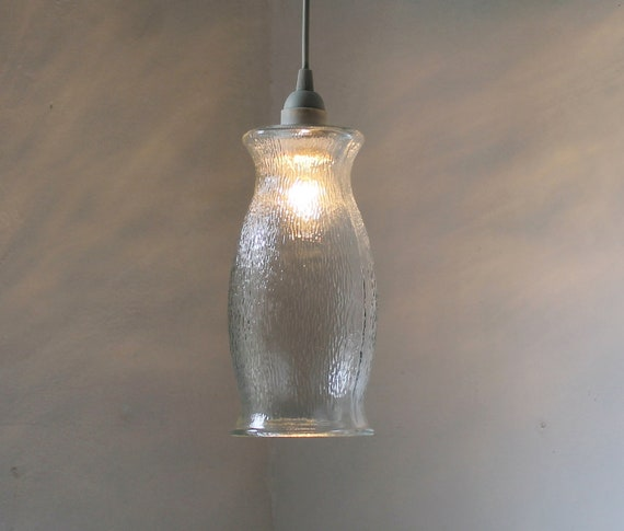 ICICLE - Hanging Pendant Lamp  - Upcycled Vintage Clear Textured Glass Vase Lighting Fixture - OOAK BootsNGus Lights