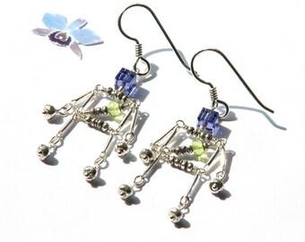Purple green robot birthstone earrings- amethyst peridot science earrings- gemstone sterling dangle geek earrings- tech- Kathy Bot
