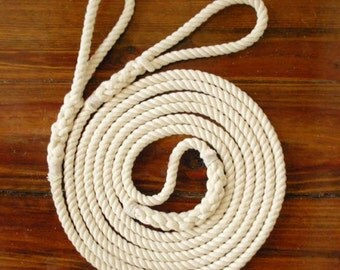 Single Double Dutch Style Playground Jump Rope Hand-Spliced, Natural Undyed