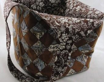 Large handmade patchwork tote bag mondo blue brown, extra large tote bag, brown and blue tote bag, patchwork tote bag, quilted tote bag
