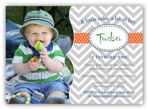 Chevron One Picture Digital Birthday Invite (4x6 or 5x7) - Totally Customizable