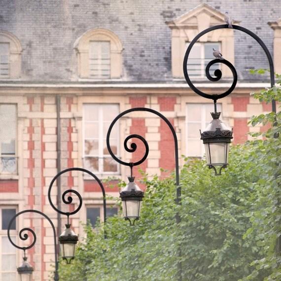 Paris Photo - Place des Vosges, Paris, France - Lamp Posts with Birds, Architectural French Fine Art Travel Photograph, Wall Decor