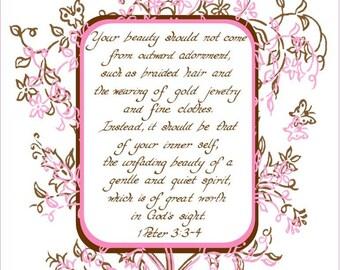 1 PETER 3:3-4 --- 8 X 10 Calligraphy Art Print Dark Red Teal White Flowers Butterflies Linen Texture