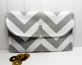 Chevron Wallet for cards and cash  Zigzag stripes Storm gray
