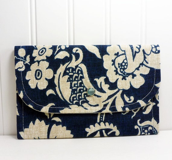 Ladies wallet for money cards coupons Navy blue Hawaiian print Small clutch