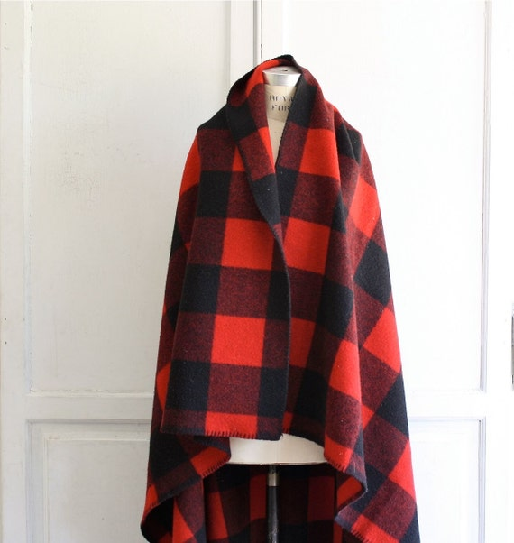 Woolrich Rough Rider Plaid Blanket Throw Red Amp Black Wool