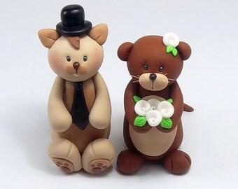 Unique Cake Topper, Wedding Cake Topper, Squirrel Figurine, Otter, Personalized
