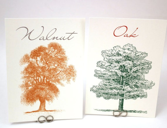 Autumn Trees - Fall Wedding Table Number Cards