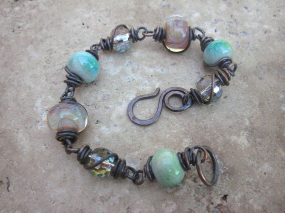 Bracelet Wire Wrapped in solid copper Lampwork Crystals and ceramic