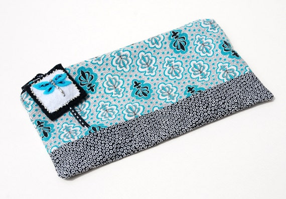 Zipper Pouch, Pencil Case, or Cosmetic Bag - Dragonfly Bag in Teal, Black and White with Handmade Teal Dragonfly Zipper Pull